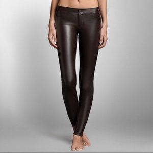 A&F Vegan Leather Pants Ankle Zip Dark Brown